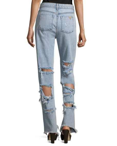 Genevive Extremely Distressed Straight-Leg Girlfriend Jeans