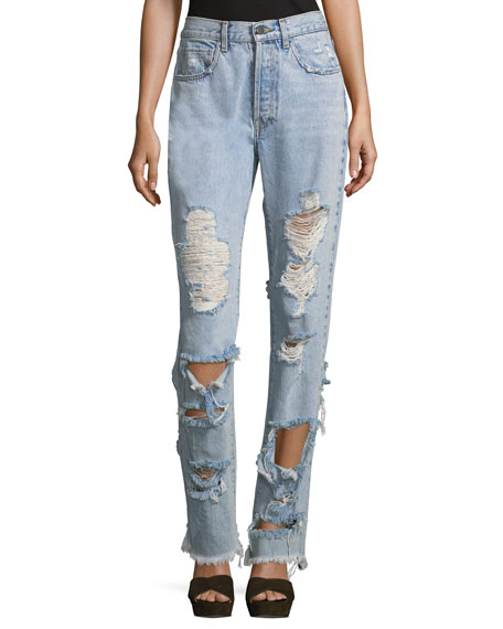 Alice + Olivia Genevive Extremely Distressed Straight-Leg