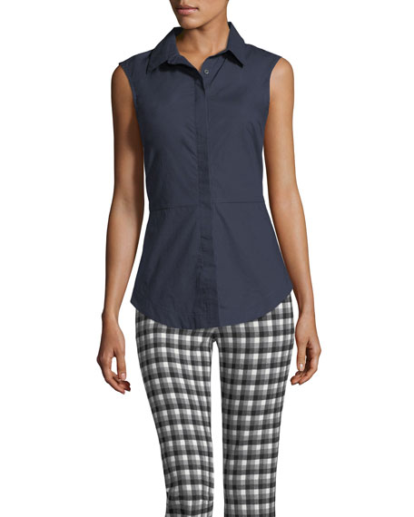 Button-Front Sleeveless Poplin Shirt w/ Lace-Up Back