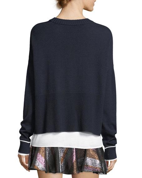 Crewneck Asymmetric Long-Sleeve Merino Wool Sweater