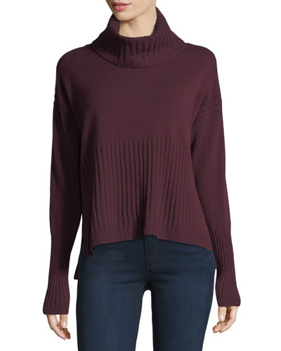 Long-Sleeve Cashmere Turtleneck Sweater w/ Rib Detail