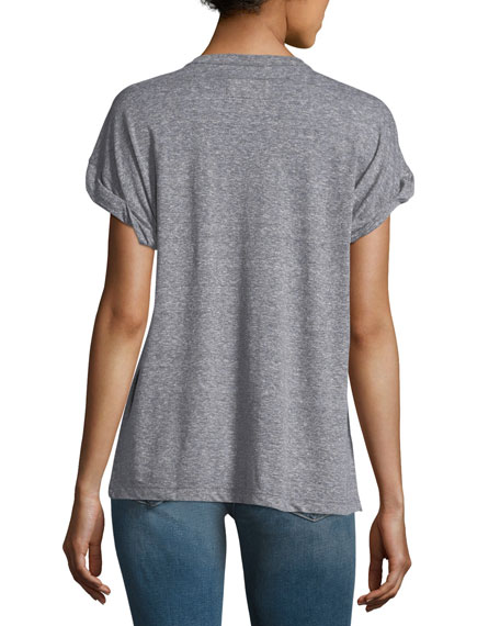 The Rolled Crewneck Short-Sleeve Heathered Tee