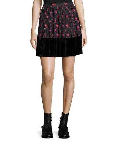 Floral-Print A-Line Pleated Skirt w/ Velvet