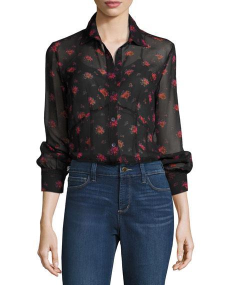 Button-Front Floral-Print Silk Lingerie Shirt
