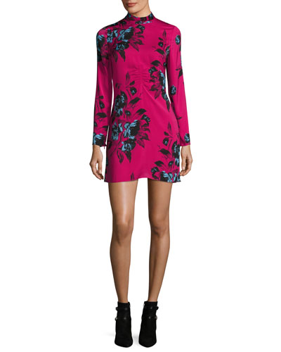 Floral-Print Mock-Neck Long-Sleeve Mini Dress