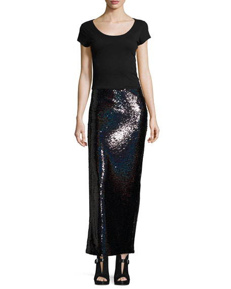 Sequin Slit Tube Cocktail Skirt