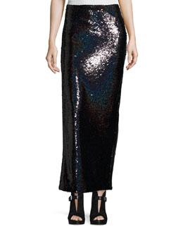 Sequin Slit Tube Cocktail Skirt