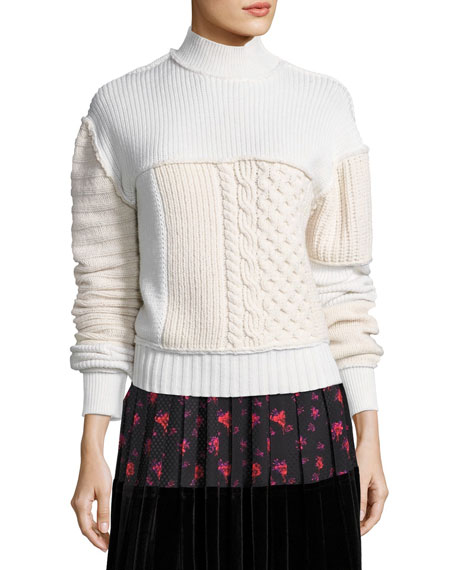Mixed Cable-Knit Turtleneck Wool Sweater