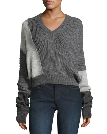 Patched V-Neck Long-Sleeve Cable-Knit Sweater