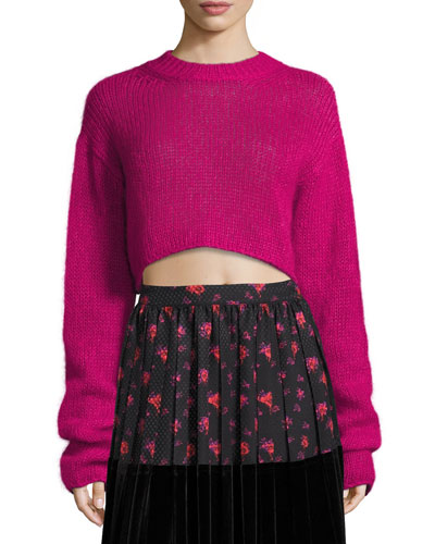 Cropped Mohair Crewneck Long Sweater