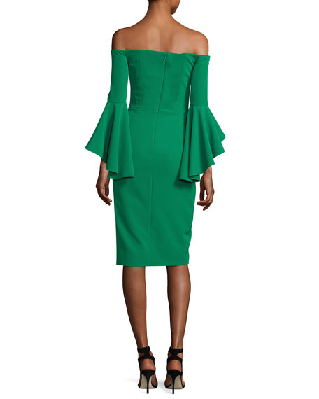 Italian Cady Selena Off-the-Shoulder Flutter-Sleeve Cocktail Dress