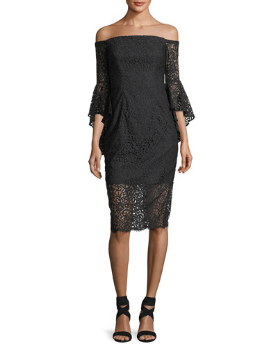 Selena Lace Off-the-Shoulder Cocktail Dress