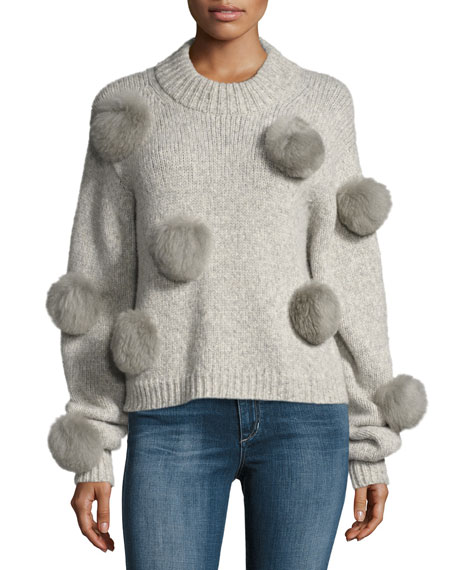 Tibi Alpaca Pompom Round Neck Pullover Sweater