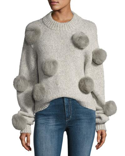 Alpaca Pompom Round-Neck Pullover Sweater