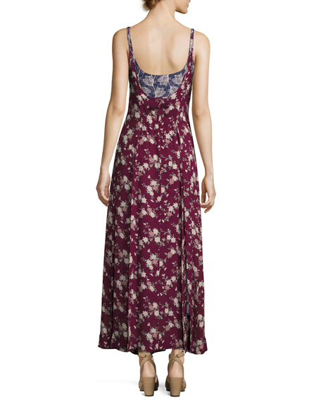 Nathalia Layered Floral Silk Maxi Dress, Berry Multicolor