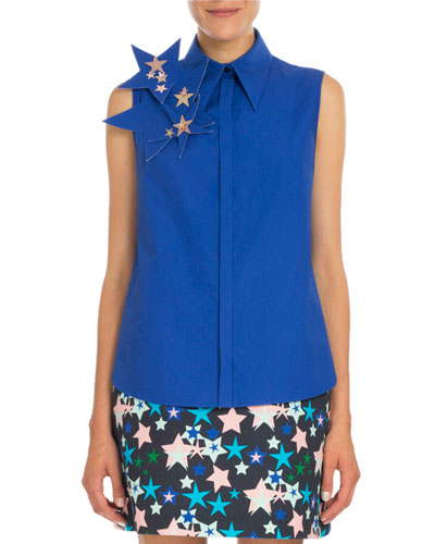 Sleeveless Blouse w/3D Star Pin, Klein Blue