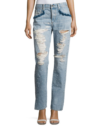 Distressed Beaded Jeans