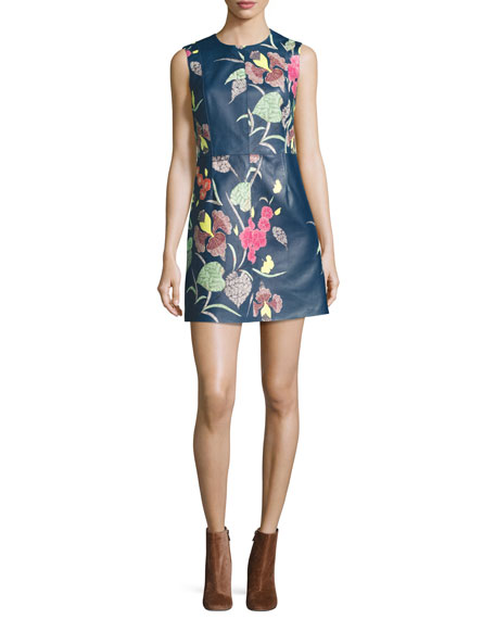 Floral-Print Leather Sleeveless Shift Dress, Blue Multicolor
