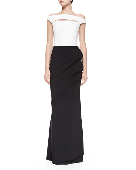 La Petite Robe Off-the-Shoulder Colorblock Ruched Long Dress