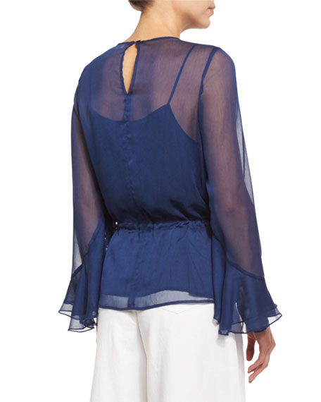 Long-Sleeve Chiffon Ruffle Blouse, Blue Night