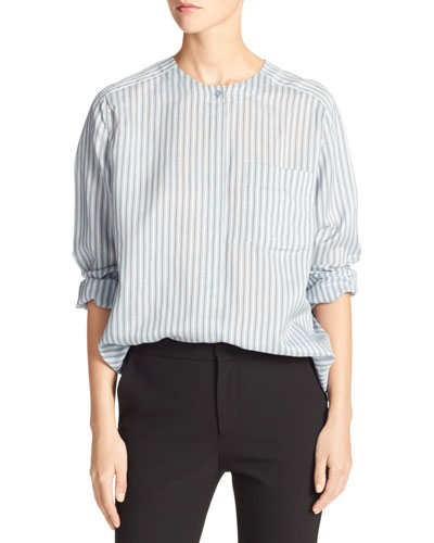 Menswear Striped Charmeuse Shirt, Blue