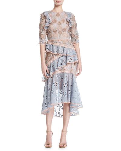 Mikaela Lace Tiered Midi Cocktail Dress