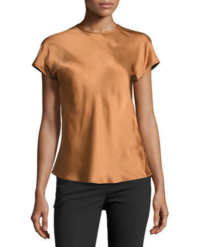 Short-Sleeve Satin Top, Bronze