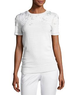 Hadley Mixed-Media Short-Sleeve Merino Sweater, Ivory