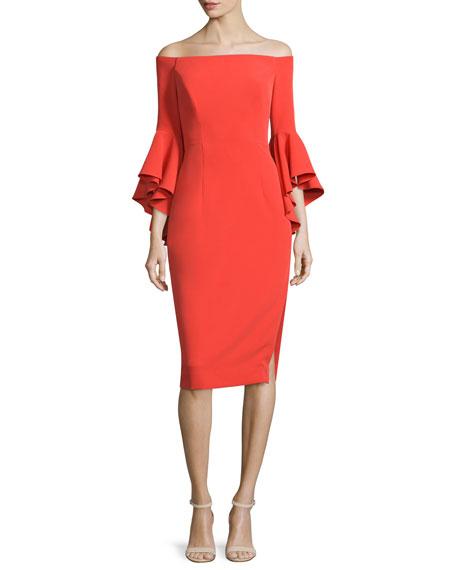 Selena Off-The-Shoulder Sheath Dress, Flame