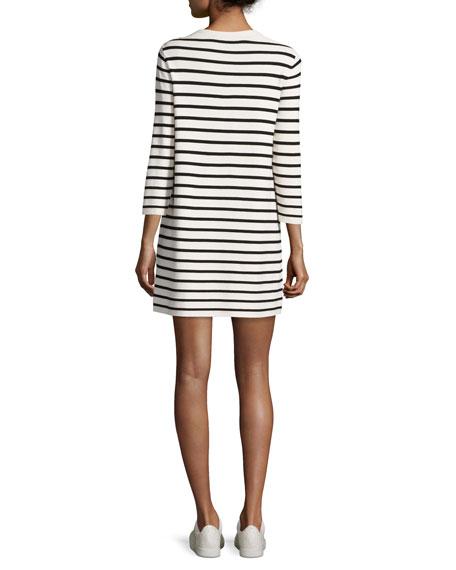 Lemdrella Prosecco Striped Sweater Dress, White