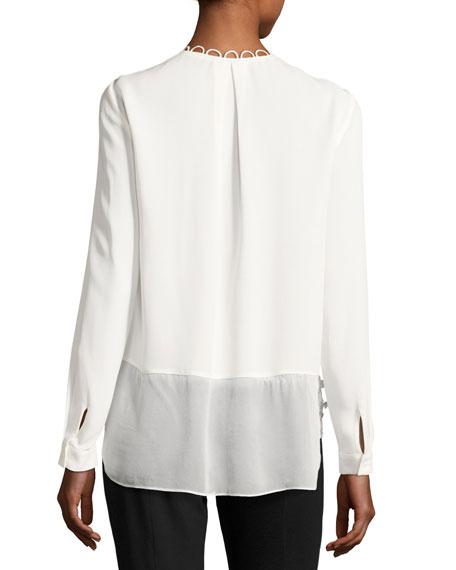Constance Long-Sleeve Floral-Applique Silk Blouse