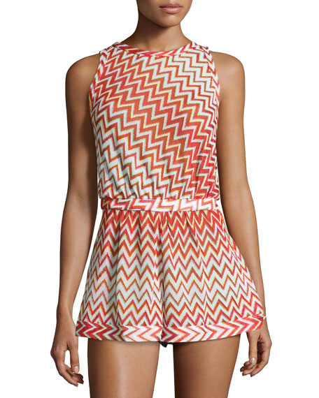 Metallic Zigzag Romper Coverup, Red