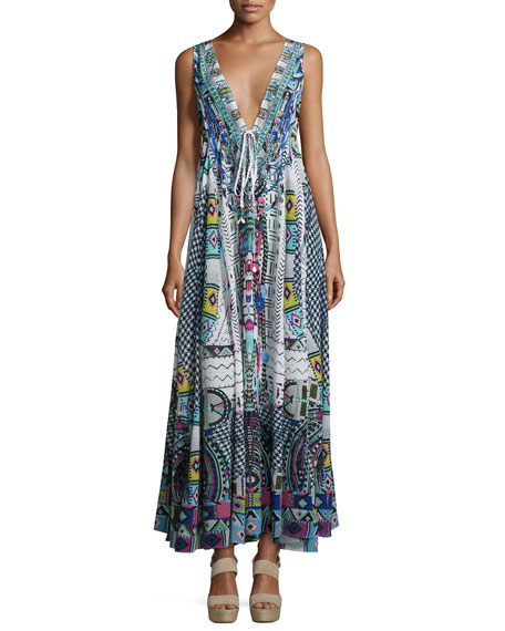 Embellished Crepe V-Neck Maxi Coverup Dress, Maasai Mosh