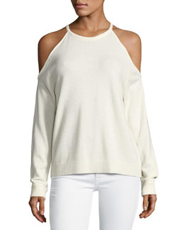 Toleema B Cashmere Cold-Shoulder Sweater