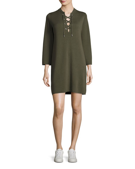 Patrinelle Lace-Up Sweater Dress