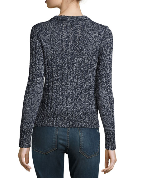 Adira Marled Cable Knit Crewneck Sweater, Navy