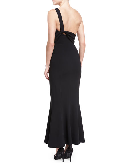One-Shoulder Flounce-Hem Crepe Evening Gown