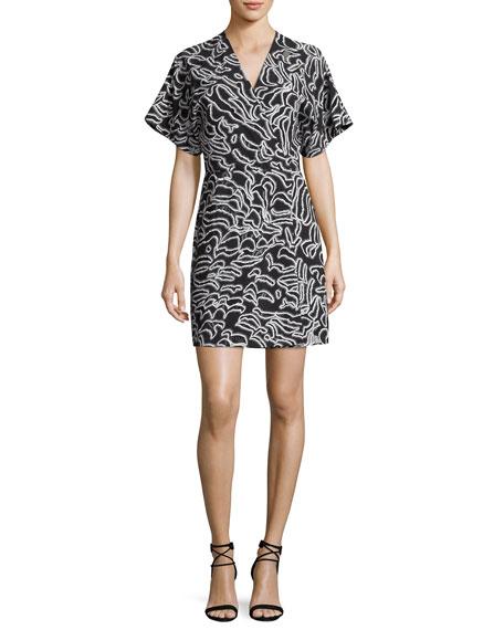 Diane von Furstenberg V-Neck Short-Sleeve Flare Mini Dress