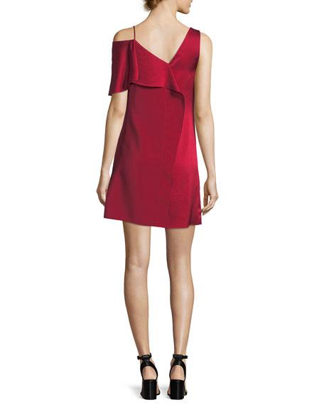 Asymmetric Sleeve Ruffled Front Mini Dress