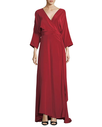 Long-Sleeve Floor-Length Silk Faux-Wrap Dress