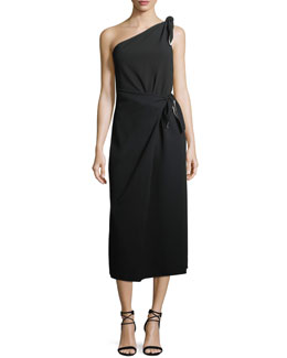 One-Shoulder Knot Scarf Midi Crepe Dress
