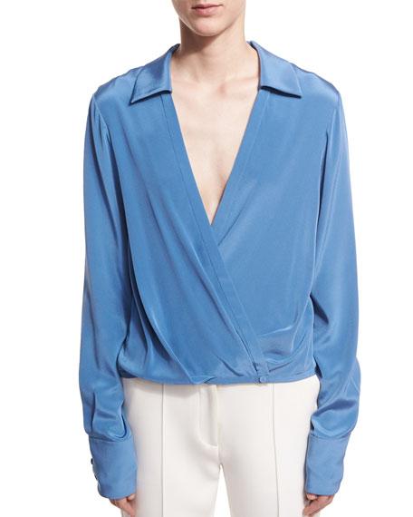 6ed7fdf5cf40f Diane von Furstenberg Long-Sleeve Collared Crossover-Bodice Silk Blouse