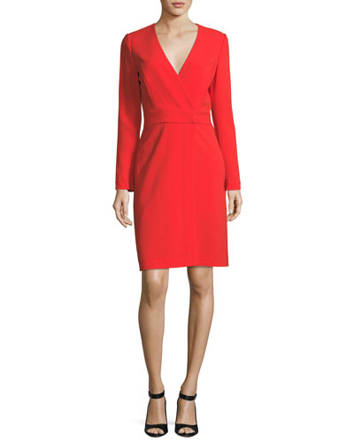 Long-Sleeve V-Neck Crepe Sheath Dress