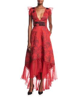 Metallic Brocade V-Neck High-Low Evening Gown