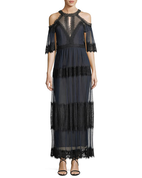 Pleated Cold-Shoulder Tiered Lace Cocktail Dress