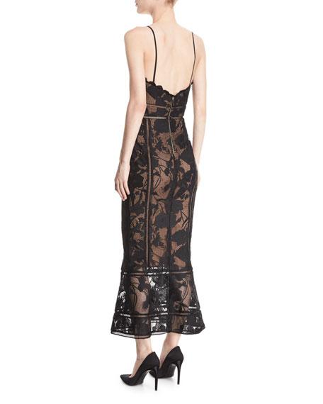 Guipure Lace Tea-Length Trumpet Cocktail Dress