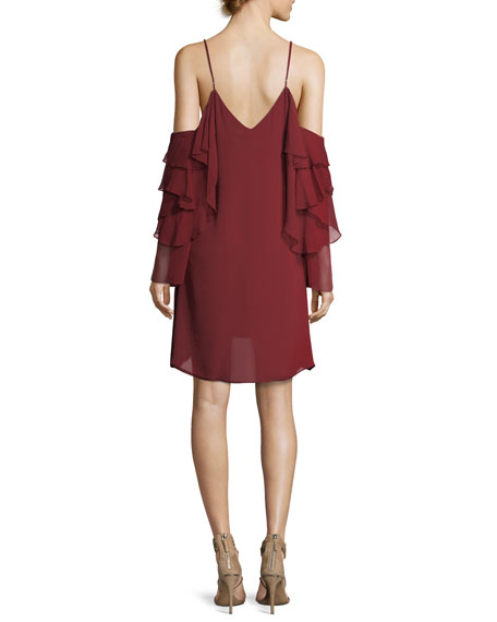 Finale V-Neck Cold-Shoulder Ruffled Chiffon Cocktail Dress