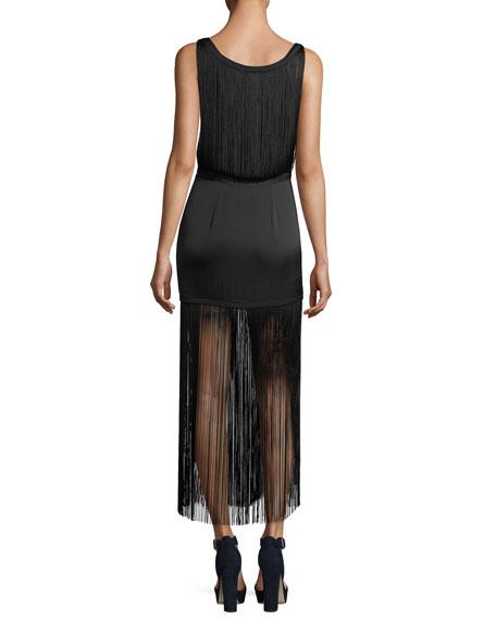 Backstage Sleeveless Fringe Silk Cocktail Dress
