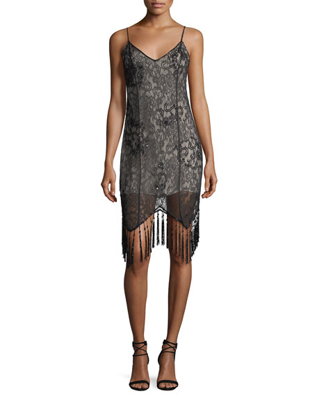 Embellished Lace Sleeveless Flapper Cocktail Dress