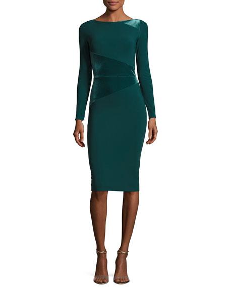 Miska Long-Sleeve Sheath Cocktail Dress w/ Velvet Insert
